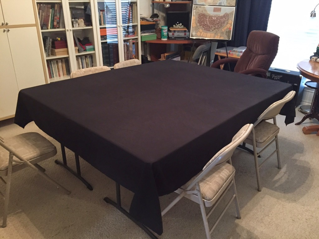 Full Size Bed Sheet Used as a Tablecloth