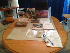 Game table before running the 5e game