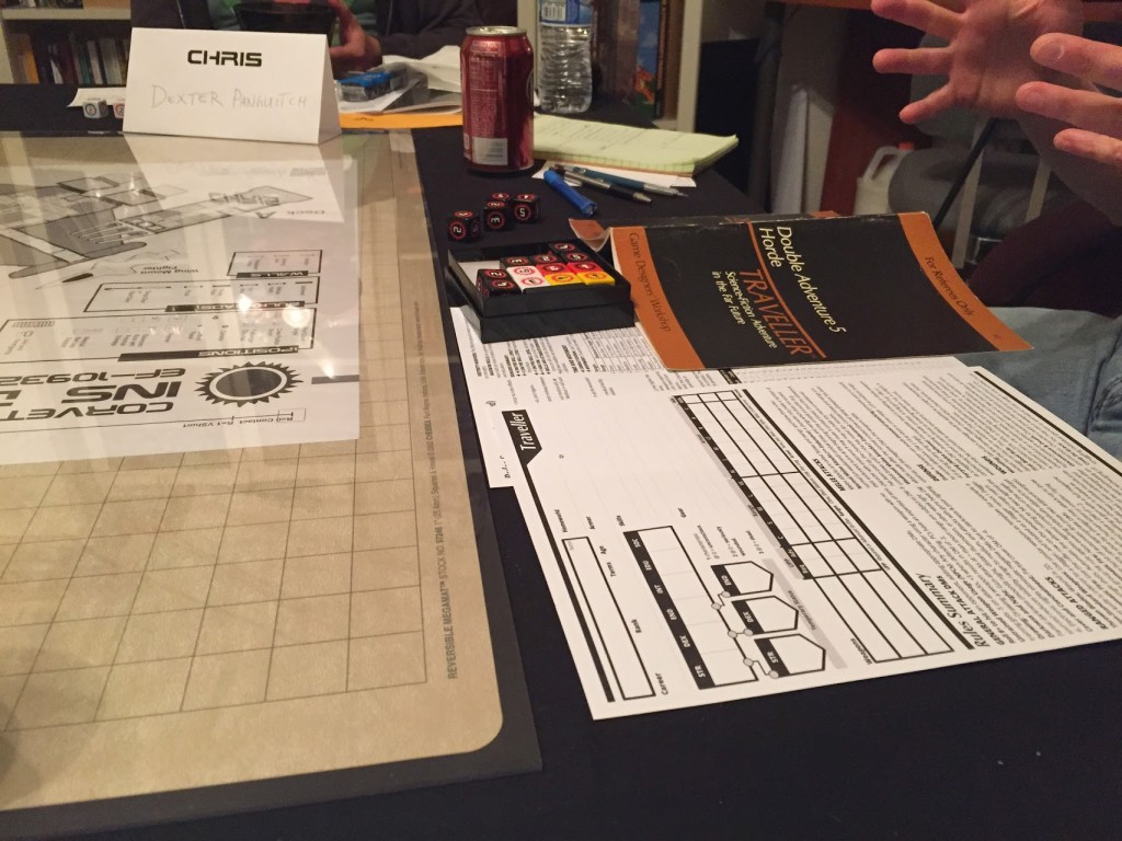 Custom Classic Traveller Character Sheet and other props