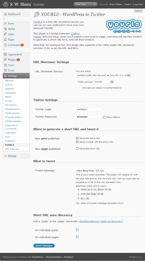 YOURLS WordPress To Twitter Plugin